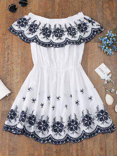 Off Shoulder Embroidered Cover Up Dress - White L
