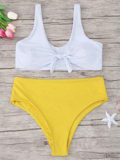 Two Tone Plus Size Tied Bikini - Yellow 2xl