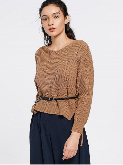 lady V Neck Side Lace Up Sweater - KHAKI ONE SIZE Mobile