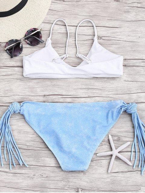 women's Cami Multi-String Tie-Dyed Bikini - WHITE S Mobile