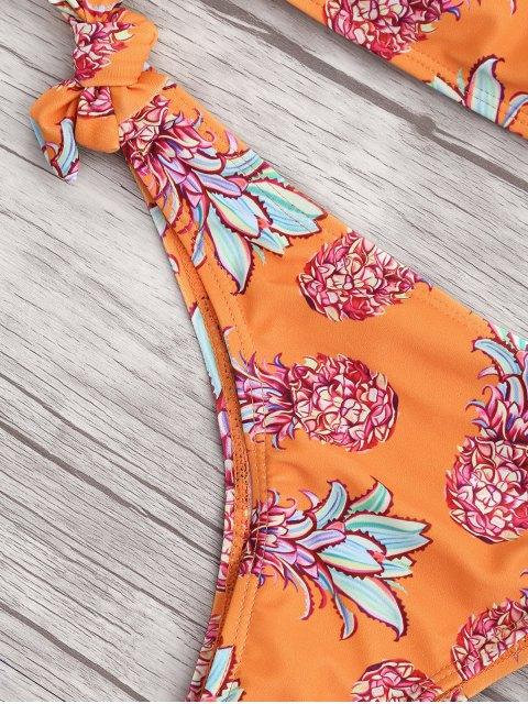 lady Back Lace Up Tied Pineapple Bikini - ORANGE M Mobile