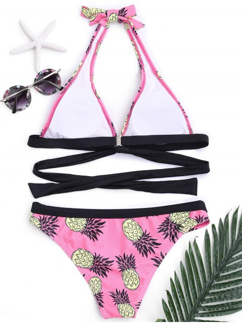 trendy Pineapple Padded Bandage Bikini - PINK S Mobile