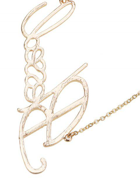 fancy Rhinestone Nameplate Necklace - GOLDEN  Mobile