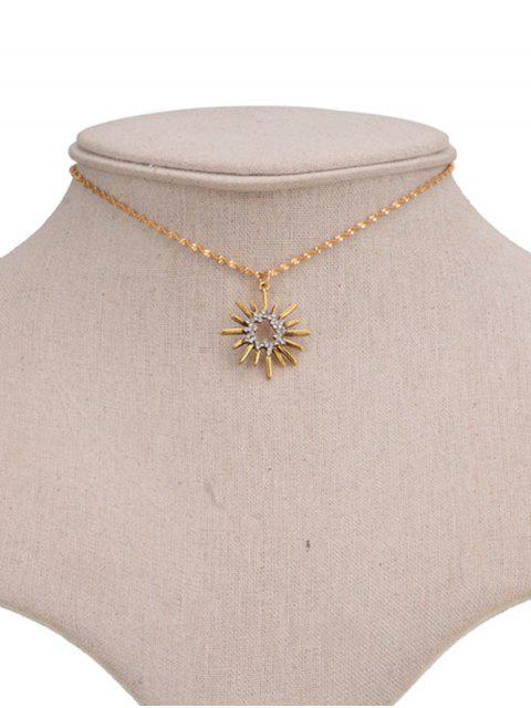 affordable Hollow Barbed Sun Pendant Necklace - GOLDEN  Mobile