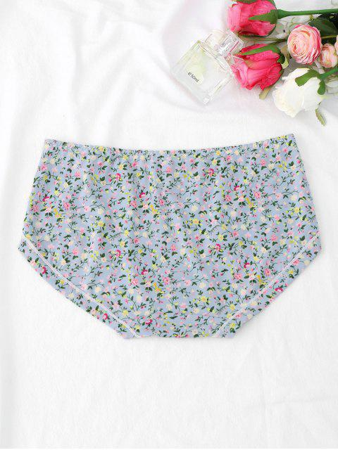 women Tiny Floral Cute Hipster Panties - LIGHT BLUE L Mobile