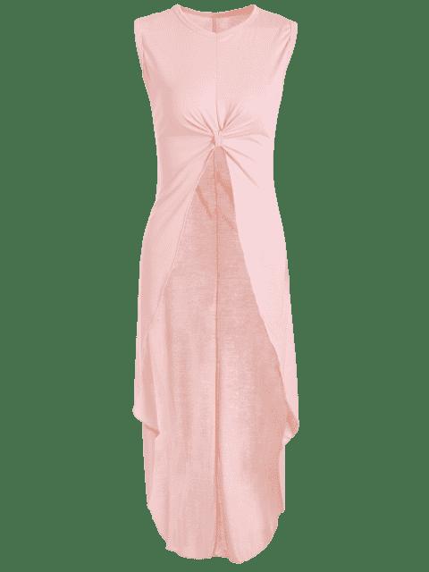 women Apricot Round Neck Sleeveless High Low Dress - APRICOT XL Mobile