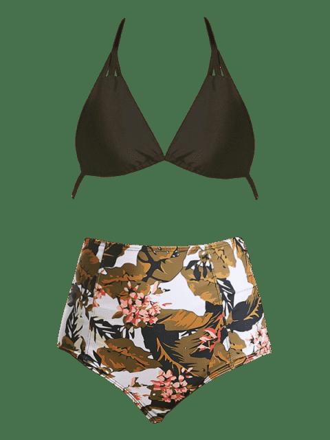 outfit High Waist Floral Leaf Print Bikini Suit - COLORMIX L Mobile