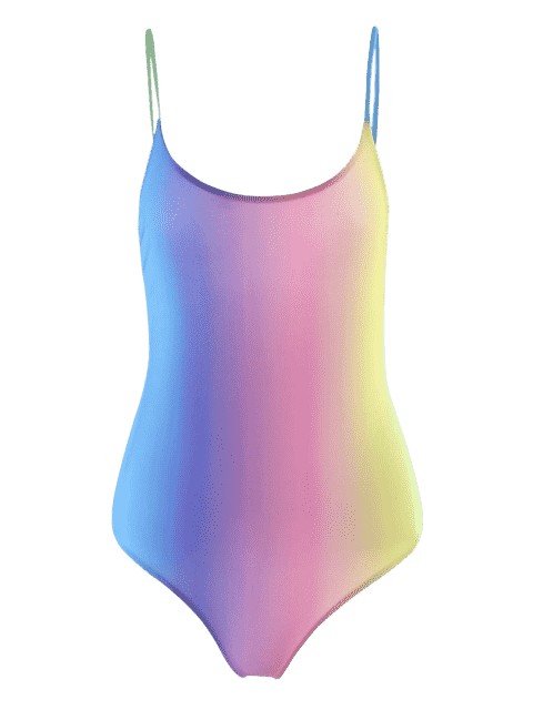 fashion Colorful Backless One Piece Ombre Swimwear - COLORMIX S Mobile