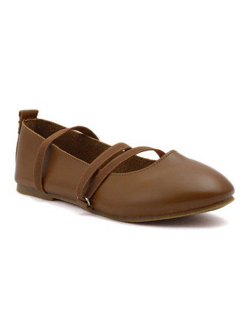 chic Elastic Band Faux Leather Flat Shoes - BROWN 39 Mobile