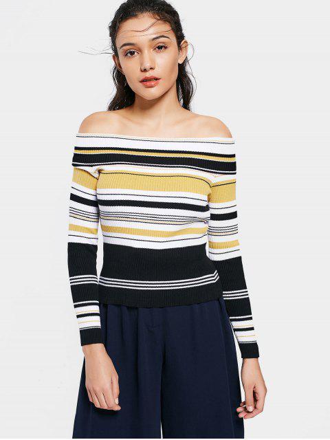ladies Fitting Stripes Off Shoulder Knitwear - STRIPE M Mobile