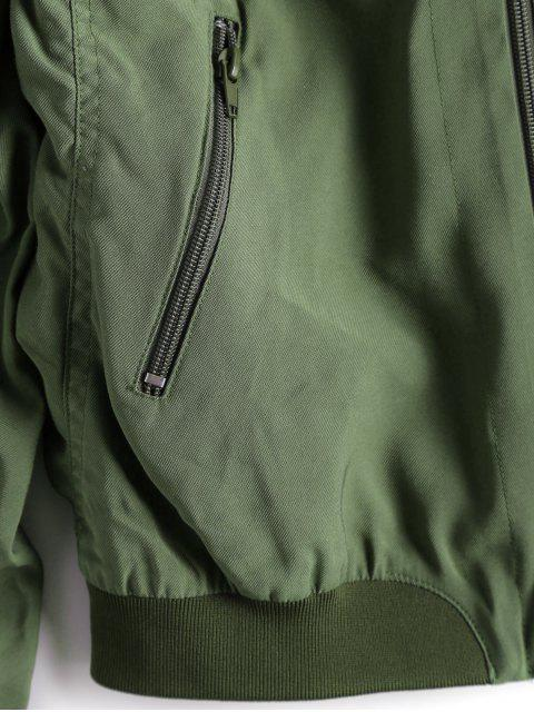 shop Zip Up Butterfly Beading Bomber Jacket - ARMY GREEN XL Mobile