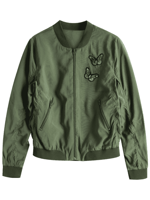 latest Zip Up Butterfly Beading Bomber Jacket - ARMY GREEN M Mobile