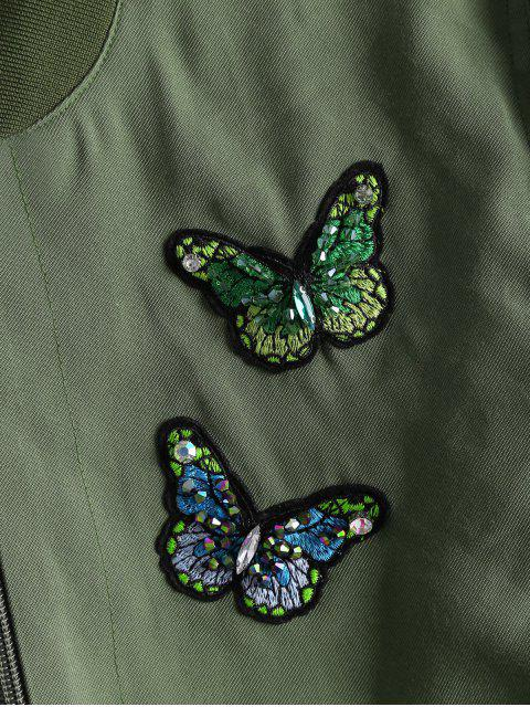 trendy Zip Up Butterfly Beading Bomber Jacket - ARMY GREEN S Mobile