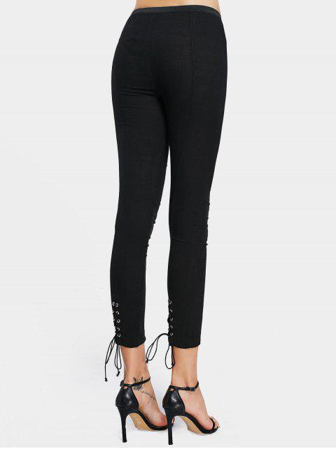 affordable High Waisted Lace Up Leggings - BLACK S Mobile