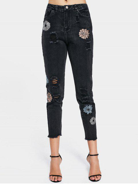 women's Destroyed Rose Embroidered High Waisted Jeans - BLACK 34 Mobile