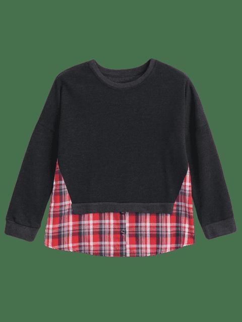 ladies Loose Checked Panel Sweatshirt - DEEP GRAY S Mobile