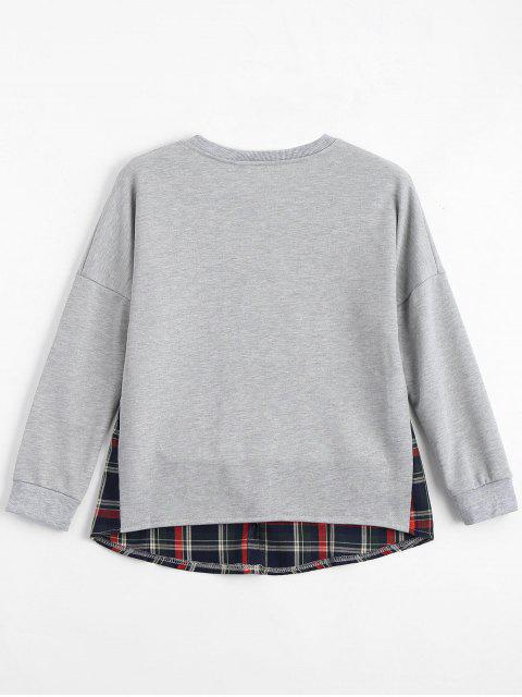 shops Loose Checked Panel Sweatshirt - LIGHT GRAY S Mobile