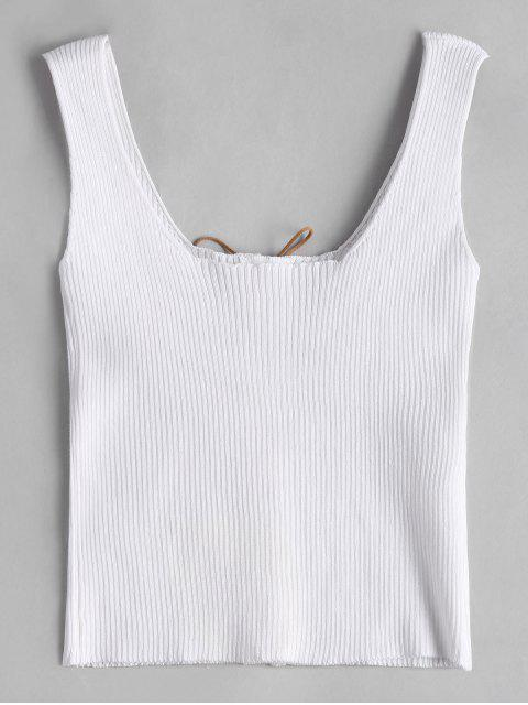 latest Knitting U Neck Lace Up Tank Top - WHITE ONE SIZE Mobile