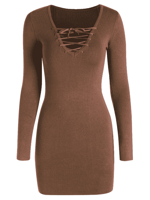 Robe tricotée à manches longues - Café S Mobile