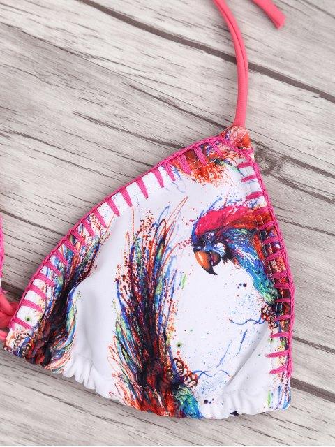 sale Fringes Bird Print Padded Bikini - WHITE L Mobile
