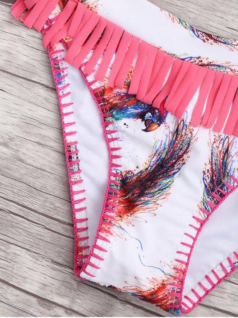 buy Fringes Bird Print Padded Bikini - WHITE S Mobile