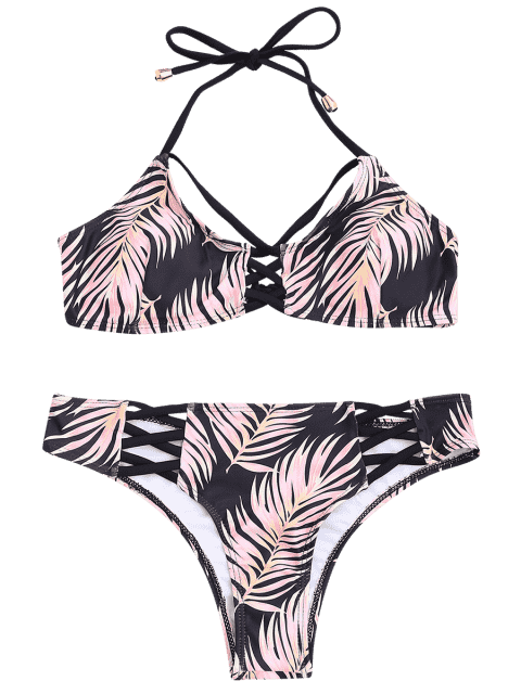womens Leaf Print Strappy Bikini Set - BLACK L Mobile