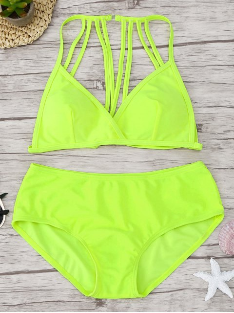 hot Padded Strappy Bikini Set - FLUORESCENT YELLOW S Mobile
