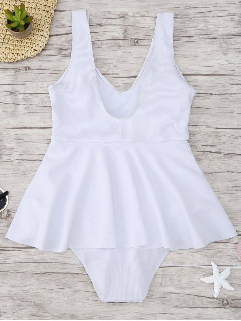 outfit Ruffle Ribbed One Piece Swimwear - WHITE L Mobile