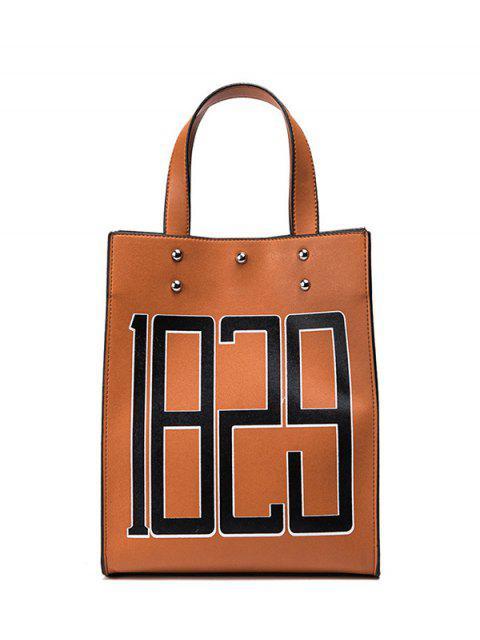 shops Studded Figure Print Tote Bag - BROWN  Mobile