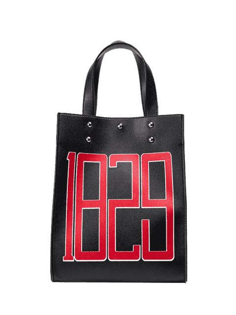 latest Studded Figure Print Tote Bag - BLACK  Mobile