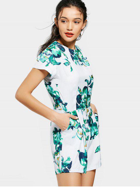 fashion Back Zip Fruit Print Romper - COLORMIX L Mobile