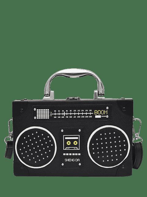 unique Faux Leather Radio Shaped Crossbody Bag - BLACK  Mobile