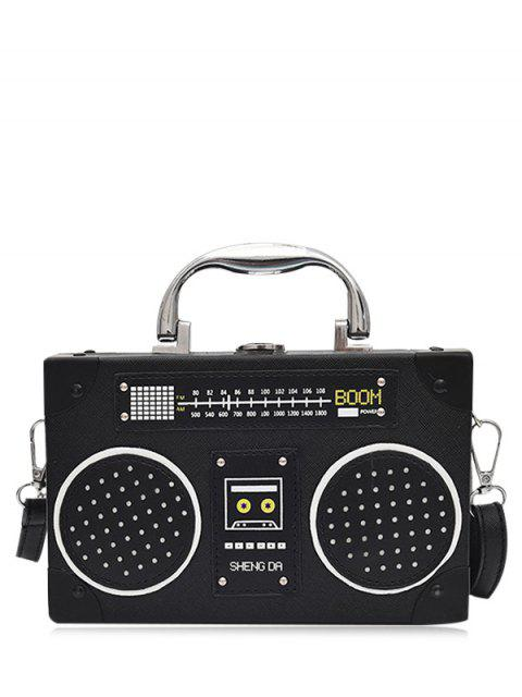 unique Faux Leather Radio Shaped Crossbody Bag - BLACK  Mobile