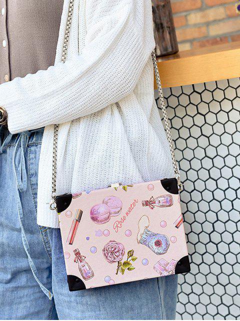 sale PU Leather Floral Print Crossbody Bag - LIGHT PINK  Mobile