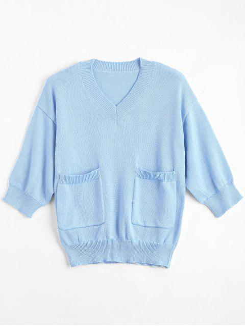women's V Neck Loose Sweater With Pockets - LIGHT BLUE 2XL Mobile