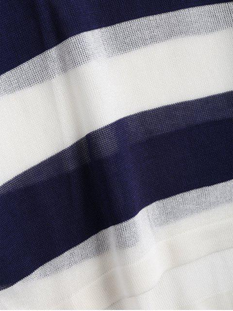 new Loose Stripes Crew Neck Sweater - DEEP BLUE 2XL Mobile