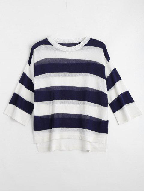outfits Loose Stripes Crew Neck Sweater - DEEP BLUE XL Mobile