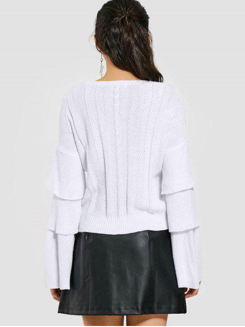 women Layered Sleeve Cable Knit Sweater - WHITE 2XL Mobile