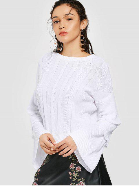 best Layered Sleeve Cable Knit Sweater - WHITE S Mobile