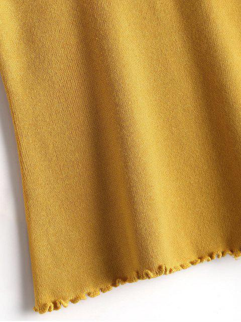 online Fitting Ruffles Flare Sleeve Sweater - YELLOW ONE SIZE Mobile