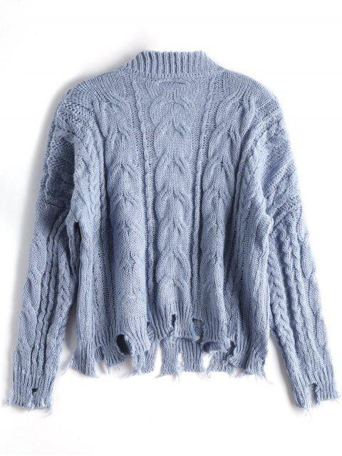 new Open Front Ripped Cable Knit Cardigan - STONE BLUE ONE SIZE Mobile