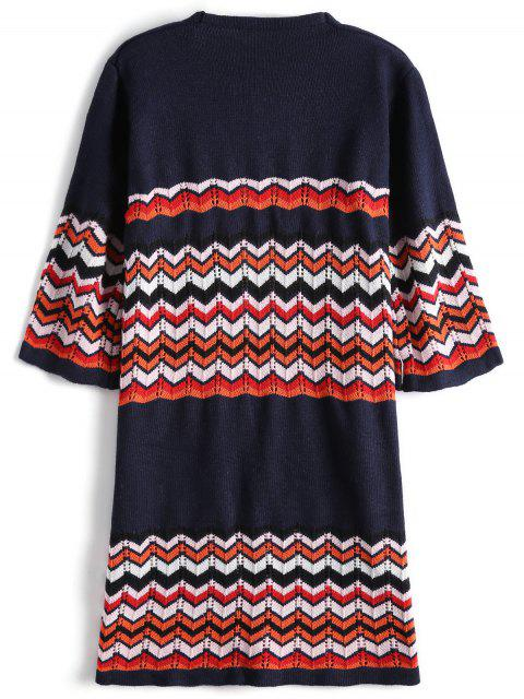 hot Sheer Open Front Zig Zag Cardigan - PURPLISH BLUE ONE SIZE Mobile