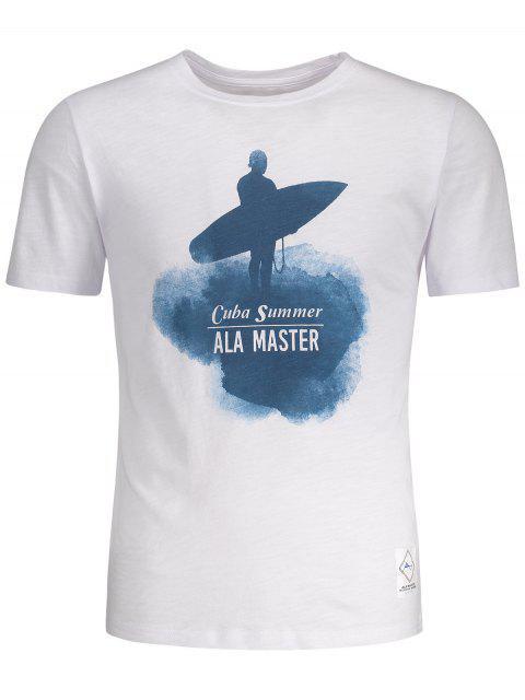 T-shirt à Motif Surf et Manches Courtes - Blanc L Mobile