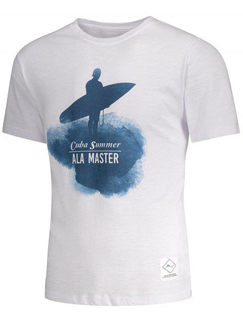 latest Short Sleeve Surfing Graphic Tee - WHITE L Mobile