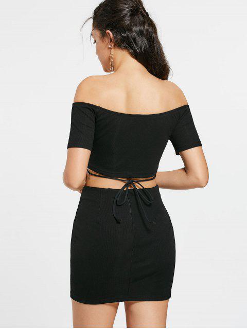 Lace Up Off Shoulder Top et tricotés Mini jupe - Noir L Mobile