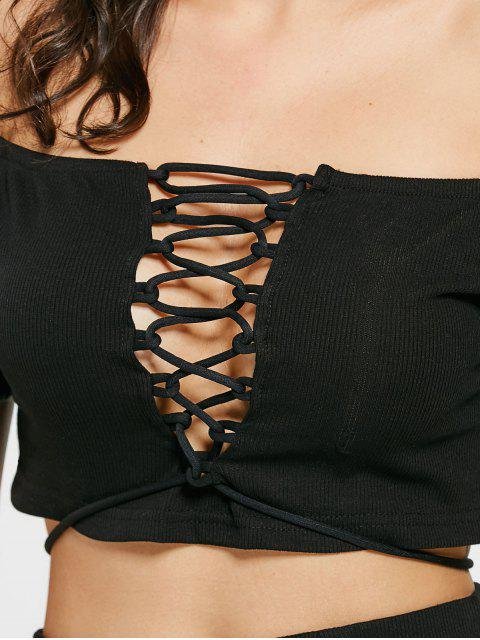 Lace Up Off Shoulder Top et tricotés Mini jupe - Noir S Mobile