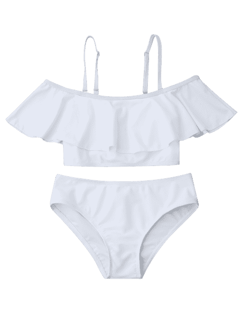 affordable Layered Off The Shoulder Girls Bikini Set - WHITE 5T Mobile