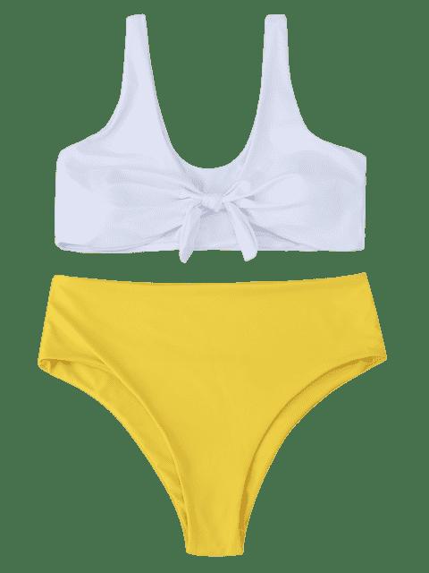 Bikini à taille haute à deux tons - Jaune 2XL Mobile