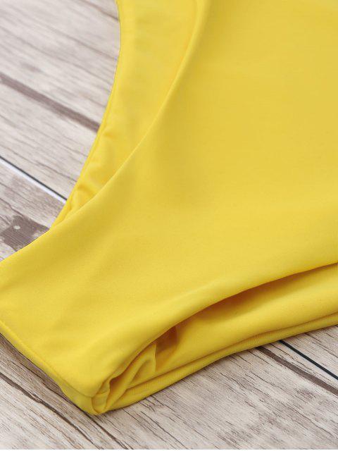 best Two Tone Plus Size High Waisted Bikini - YELLOW XL Mobile