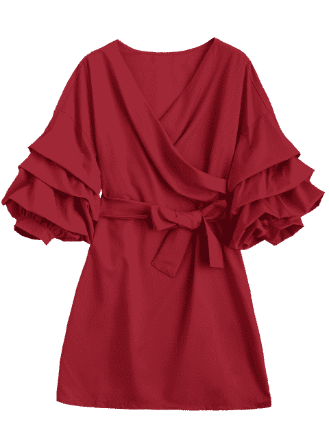 hot Puff Sleeve Belted Crossed Front Mini Dress - RED S Mobile